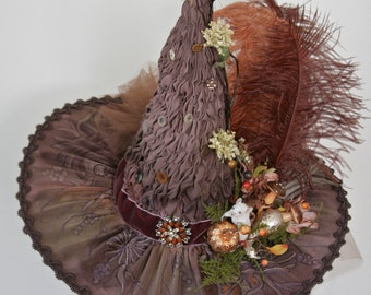 Gorgeous Handmade Victorian Witch Hat, Studio Sisu Original, Vintage Chiffon Silk, Real Taxidermy Mouse, Vintage Millinery, Witches Ball
