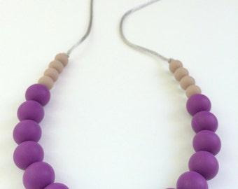 Silicone Teething Necklace / Silicone Nursing Necklace - Eggplant & Coffee