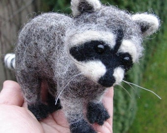 Needle Felted Raccoon Sculpture  Decor