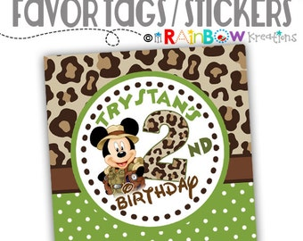 FVTAGS-659: DIY - Mickey Mouse Jungle Safari Favor Tags Or Stickers