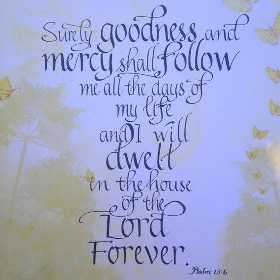 Psalm 23 6 christian scripture art bible art religious art