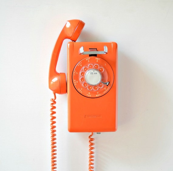 vintage rotary dial wall mount telephone orange rotary wall. Black Bedroom Furniture Sets. Home Design Ideas
