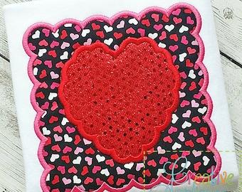 Heart Scallop Square Valentine Machine Embroidery Applique Design 4 Sizes, heart applique, heart embroidery