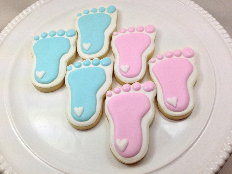 Baby Shower Cookies Baby Feet Cookies Gender Reveal Party