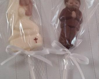 Communion Boy or Girl Chocolate Lollipop