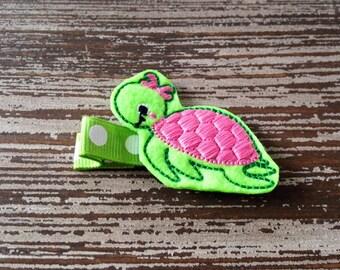 Turtle Hair Clip - Turtle Hair Bow - Sea Turtle - Felt Hair Clip - Baby Hair Clip - Toddler Hair Clip - Birthday Hair Bow - Party Favor