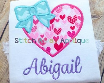 Bow Heart Valentines Machine Applique Design