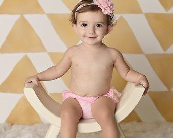 Pink and Gold Baby Headband, First birthday Headband, newborn headband, infant headbands, toddler headband, hair bow, baby accessories