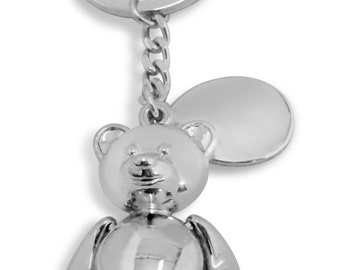 Custom Engraved / personalised keyring with gift pouch - teddy bear - B16