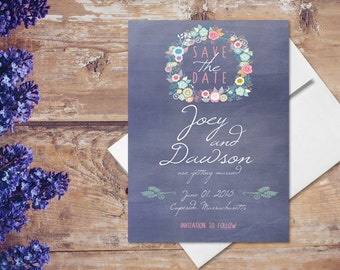 Save The Date Cards in Violet / Shabby Chic Invitations for Chalkboard Weddings / PRINTED Save-The-Date Card