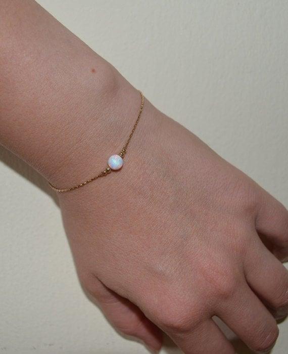 White Opal Bracelet, Tiny Opal Dot Bracelet, simple dainty coin/circle gold bracelet, minimalist pendant bracelet, opal jewelry