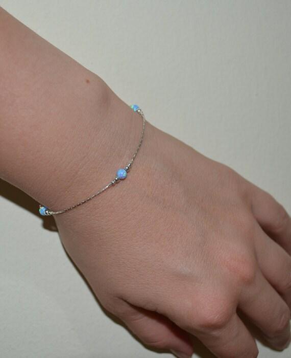 Opal Bracelet, Tiny Blue Opal Dot Bracelet, simple dainty coin/circle silver bracelet, minimalist pendant bracelet, opal jewelry