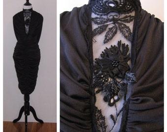 Vintage 1980s High Neck Black Party Dress