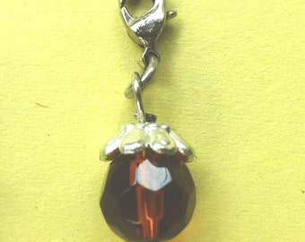 Dangle Dark Amber Faceted Dangle for Bracelets, Floating Charms, Necklaces & Keychains  D010