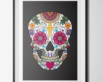 Calavera mexicaine etsy - Affiches decoration interieure ...