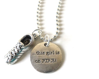 This Girl is On Fire Running Track Cross Country Marathon Half Marathon 5k 10k Charm Necklace YOU Choose Necklace Length