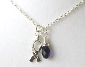Blue Awareness Ribbon  Hope Survivor Silver Ribbon Pendant Necklace You Choose Ribbon Design
