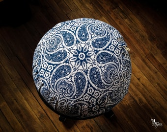Meditation cushion zafu cotton - Blue Mandala -   with handle Organic buckwheat hulls