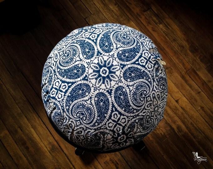 Meditation cushion zafu cotton Blue Mandala organic buckwheat pillow handmade by Creations Mariposa ZT-MB