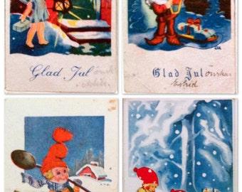 4 Vintage Scandinavian Christmas Mini-Postcards; Santa's Elves, Children. #004