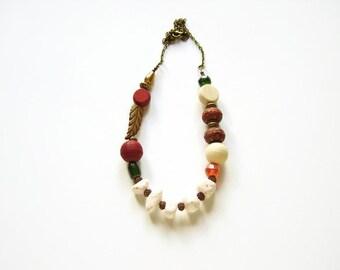 Beaded boho necklace, Tribal ethnic, Boho chic necklace, Bohemian jewelry, Statement necklace jewelry