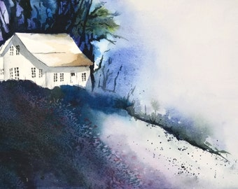 Night Painting Print, Landscape Watercolor Painting, Country House, Night Art, Wall Decor Print,Blue Art Purple Print,11x14 13x19 Forest Art