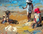 "8"" x 8"", 12"" x 12"", 16"" x 16"", 20""x20"", art print, original artwork, impressionist painting, 'Child's Play'. Seaside Beach Art, Child's Room"