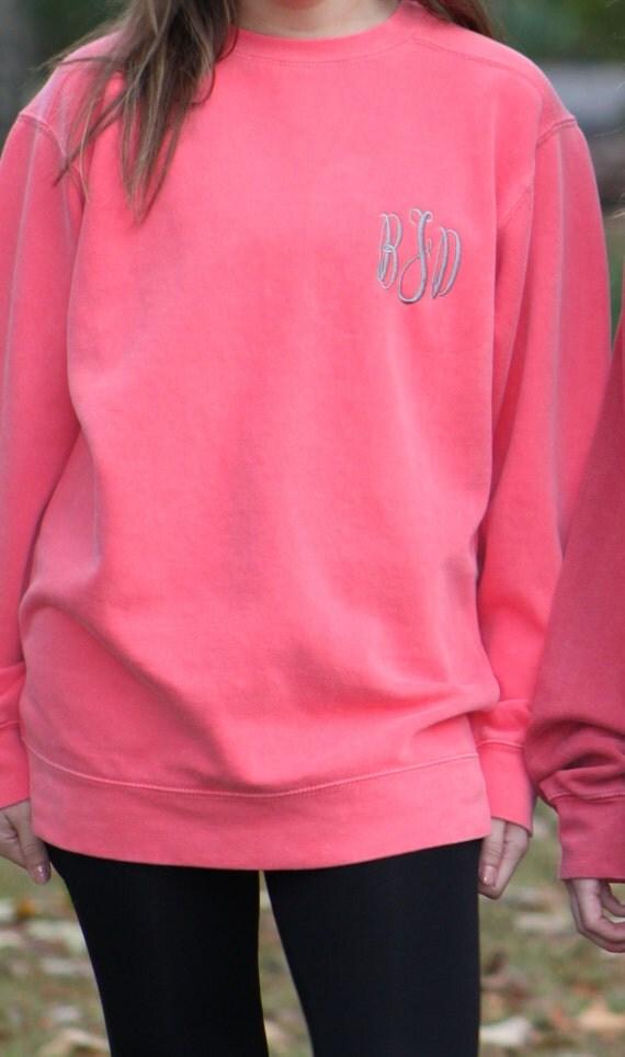 items similar to classic left chest monogrammed comfort colors sweatshirt unisex sizes