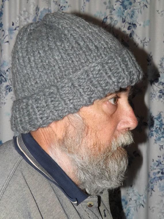 Knit Pattern Super Bulky Hat : Mens Grey Knit Hat Wool Blend Super Bulky Yarn Winter