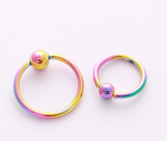 captive bead ring piercings rainbow cbr nose by