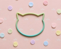 3D printed Cat face silhouette bangle - Turquoise jade