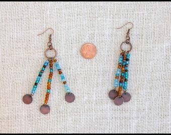 Blue & Brown Antiqued Copper Dangle Earrings