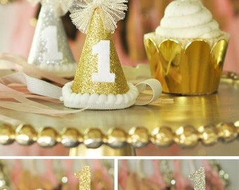 First Birthday Party Hat - First Birthday Hats for Girls Cake Smash Hat - Baby Party Hat - Cone Hat - Glitter Hat Gold Birthday Hat (EB3090)