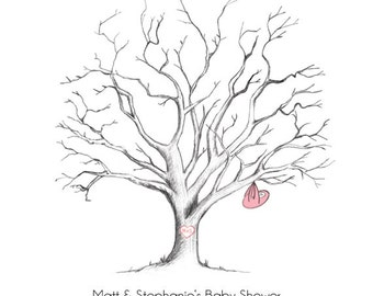 Printable Hand-Drawn Baby Shower Fingerprint Tree Guestbook (PDF)