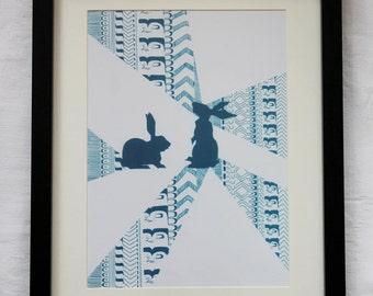 Framed Abstract Rabbit Art Print