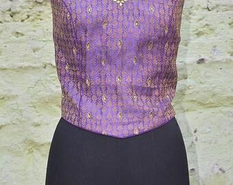Lavender Brocade Silk Beaded Halter Top