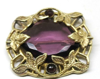 Purple Brooch - Vintage, Early 1900s Jewelry, Amethyst, Victorian C Clasp