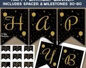 Glitter Balloons Birthday Banner - Printable Happy Birthday Banner - Black Gold Birthday Party Decorations 30th 40th 50th 60th 70th 80th BAL