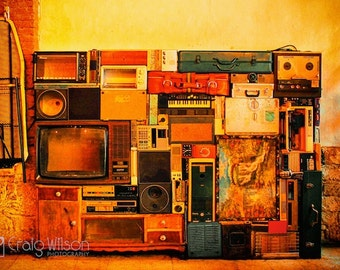 RETRO Fine art Photography PRINT Abstract wall art (LARGE) Yellow Orange Birthday House warming gift Autumn colour Suitcase vintage upcycle