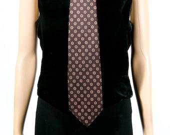 Vintage 1970s Christian Dior Brown and Orange Flower Tie
