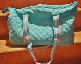 Vintage 1980's Turquoise Tote Bag