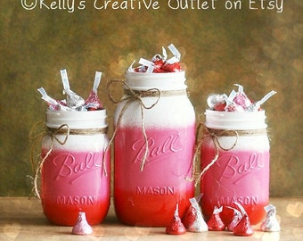 Valentines Decoration - Office Decor - Mason Jar Decor - Painted Mason Jar - Valentine Decor - Mason Jar - Shabby Chic Decor