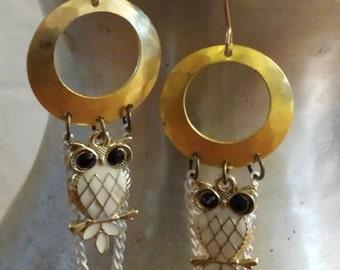 Earrings - Gold & White Owl Swing