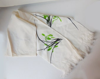 100% Silk White Shawl Hand Painted Flowers