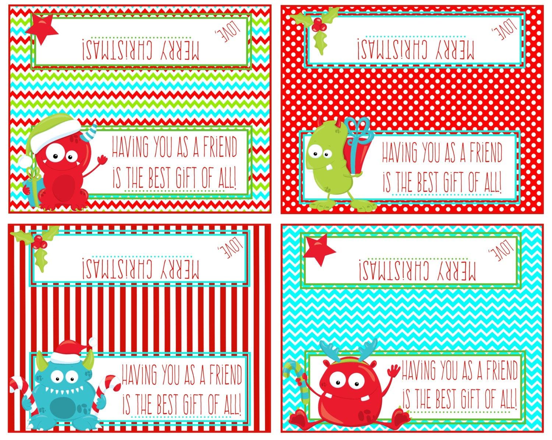 Printable christmas bag toppers jolly monsters having you