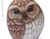Original Hand Painted Tawny Owl Rock