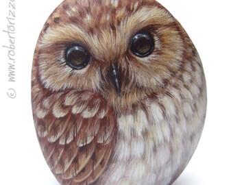 Original Hand Painted Tawny Owl Rock