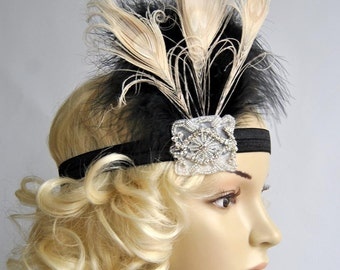 Black Ivory Flapper Feather Headband, Great Gatsby headpiece, 1920s Flapper rhinestone Headband, Vintage Inspired,Feather, Art Deco headband