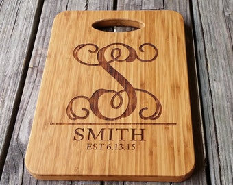Personalized Cutting Board - Custom Bamboo Cutting Board - Monogram Cutting Board - Monogram Home Decor - Wedding Gift