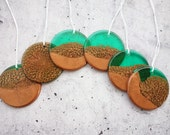 Emerald Green and Copper Resin Decorations, Christmas Decorations, Resin Discs, Hanging Decorations, Home Decor